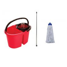 Комплект Кофа двуобемна с цедка Clean2 16л, Моп 220гр. и Метална Дръжка 130cm