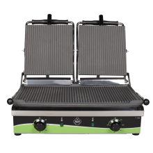 Електрически контактни грилове - тостер, гладка или оребрена плоча, две работни зони - T305
